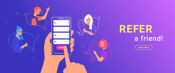 Refer a friend gradient vector illustration of human hand holds smartphone to invite friends