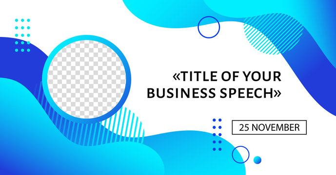 Business conference banner template. Vector abstract background with liquid blue shapes. Event promo for social media