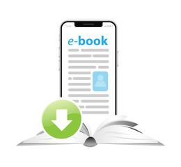 Book download. e-book concept. Vector illustration for web site or mobile app.