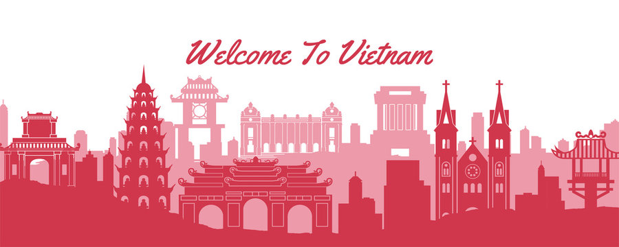 famous landmark of Vietnam,travel destination with silhouette classic design
