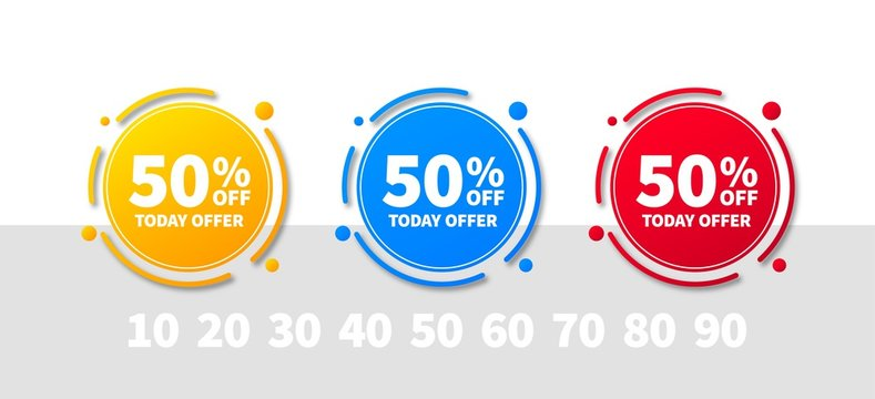 Sale tags set vector badges template, up to 10, 20, 30, 40, 50, 60, 70, 80, 90 percent off. Templates ready for use in advertising design, web and print design. Trendy banners of yellow, blue, red.