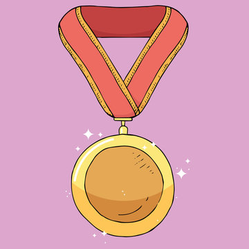 Award medal icon. Vector illustration of a medal for first place on the tape. Hand drawn medal for 1 place on the ribbon.