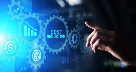 Cost reduction business finance concept on virtual screen.