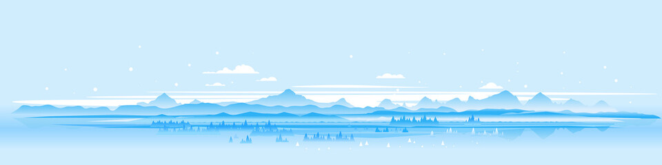 Foto auf Acrylglas Licht blau Winter nature landscape panorama with spruce-trees near the snowy mountains, beautiful winter day on snowy hills, forest at the foot of mountains