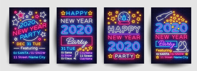 Happy New Year 2020 Party Poster collection neon vector. New Year 2020 celebration design invintation template, Christmas celebration bright neon brochure, typography invitation. Vector