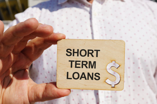 Business photo shows printed text short term loans