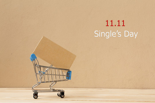 Online shopping of China, 11.11 single's day sale concept. The shopping cart and the text 11.11 single's day sale with copy space.