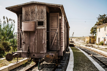 Dismissed old train in Abruzzo Region, Italy