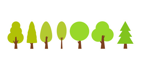 Flat trees set in a flat design. Vector icons.