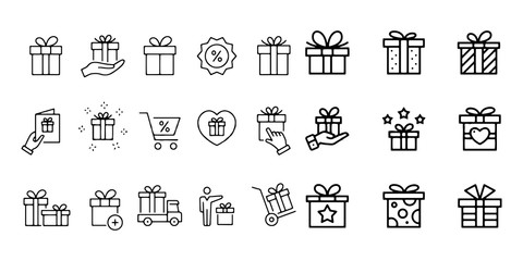 gift box vector icon set illustration on white background