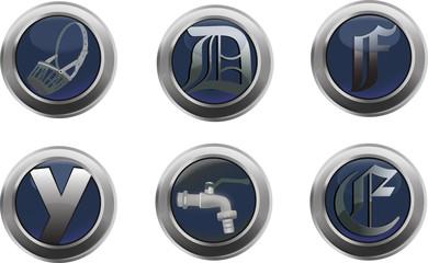 bottini metallici con varie immagini inserite