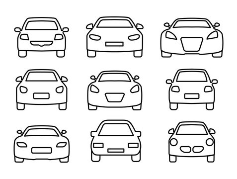 Set of car icons thin line. Web icons front view car. Vector illustration.