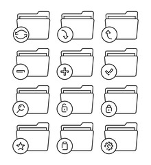 Set of folder icons thin line. Different folder vector icons.