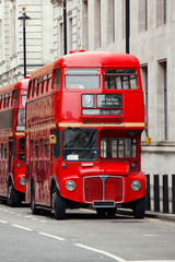 Zelfklevend Fotobehang Londen rode bus Iconic red Routemaster double-decker buses in London UK