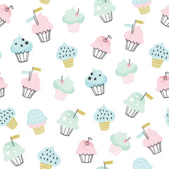 Cupcake vector pattern. Hand drawn cute cupcakes seamless background for party, birthday, greeting cards, gift wrap, stationery.