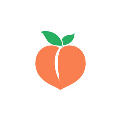 Peach icon. Orange fruit. Vector logo.