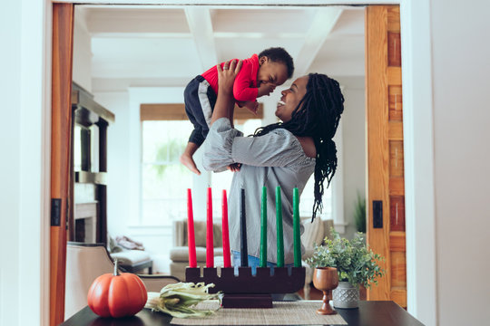 Mother and son celebrating kwanza