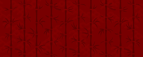 Hand drawn red background in oriental style with bamboo trees, pattern texture. Vector illustration. Concept for Chinese New Year holiday banner, print, packaging, wrapping paper. Flat style design.