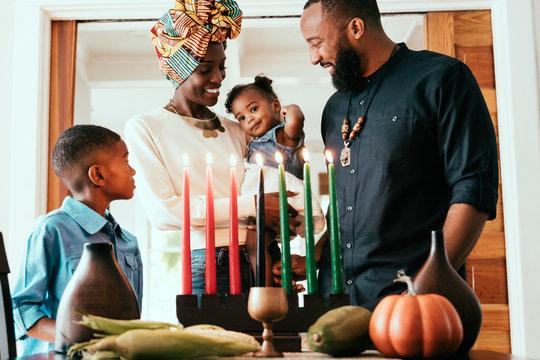 Portrait of family celebrating Kwanzaa