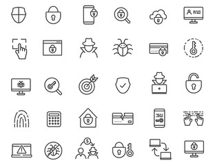Set of linear criminal icons. Security icons in simple design. Vector illustration