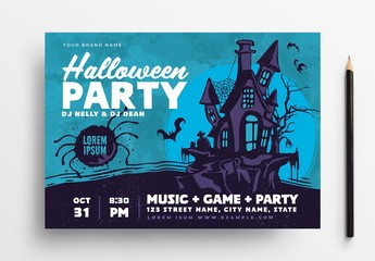 Halloween Party Flyer Layout with Illustrated Haunted House