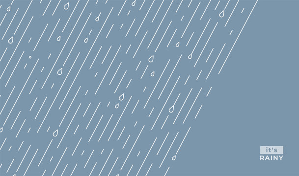 Rain vector pattern. It s rainy, season background in simple flat style with water line and liquid drops. Rainfall illustration. Copy space in the right sight. Raindrops front, starting