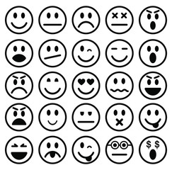 Set of outline style Emoticons. Emoji icon collection. Vector illustration image. Isolated on white background.