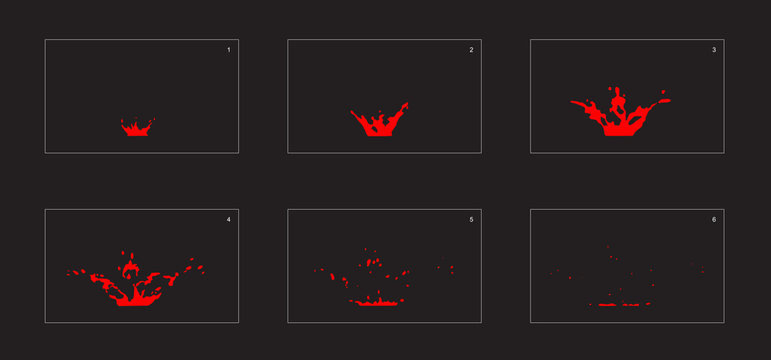 Dripping fire splash special effect animation frames sprite sheet. fire drop burst effect for animation, games, cartoon or something else.