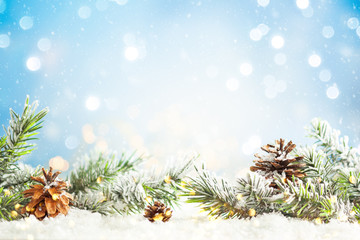 Christmas fir tree branches with pine cones on blurred blue .background. Christmas and Winter...