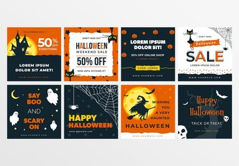 Halloween Banners Layout Set for Social Media