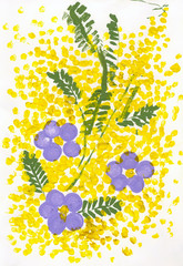 Mimosa and crocuses. Children 's drawing