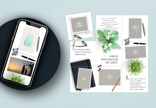 Social Media Grid Post Layouts with Stationery Elements
