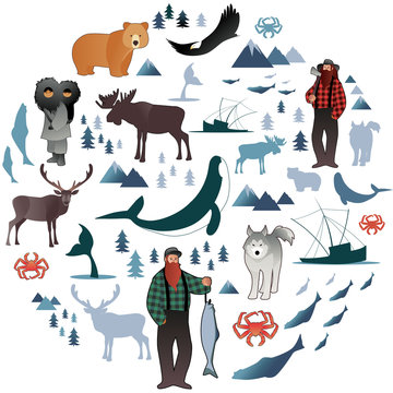 North Polar circle icons and images. Animals, eskimos, forests, mountains, hunters, boats, fish and fishermen
