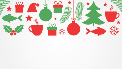 Christmas symbols, red and green background.