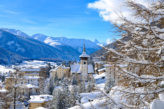 Landscape of  winter resort Davos, Switzerland.