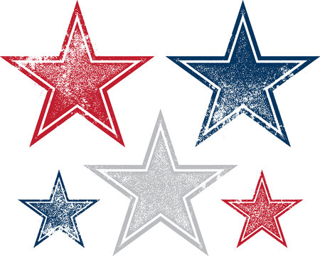 Vintage Distressed and Patriotic Vector Stars