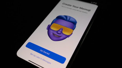 Mannheim - BW / Germany 09.22.2019 - iOS 13 System Create Your Memoji Start Screen on iPhone 11 Pro Smartphone