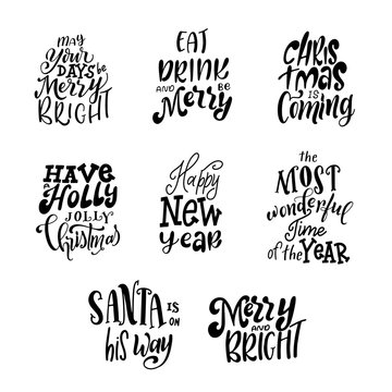 Set of hand lettering quotes for Christmas cards. Warm winter wishes text. Happy New Year. Vector illustration
