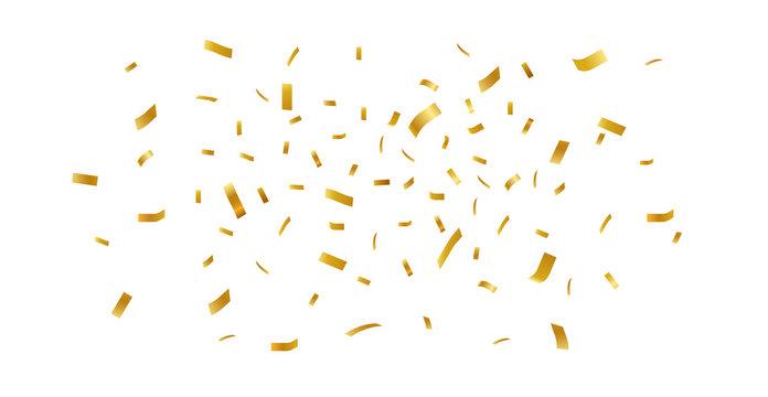 Gold confetti falling festive decoration for birthday party celebration.