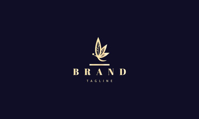 Vector gold logo on which an abstract image of a butterfly whose wings are made in the form of cannabis leaves.
