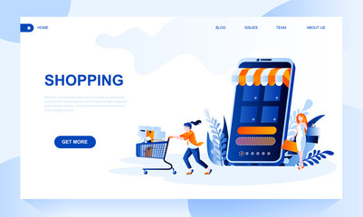 Shopping vector landing page template with header. Online store web banner, homepage design with flat illustrations
