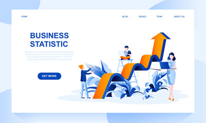 Obraz Business statistics vector landing page template with header. Financial research web banner, homepage design with flat illustrations - fototapety do salonu