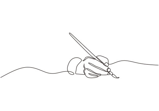 Single line drawing of hand golding art painting brush to make an artwork. Concept of artist painter minimalism design vector.