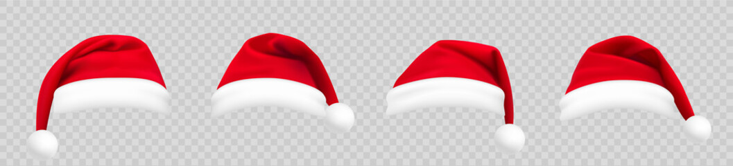Realistic set of red santa hats. New Year red hat. - stock vector. Fotobehang