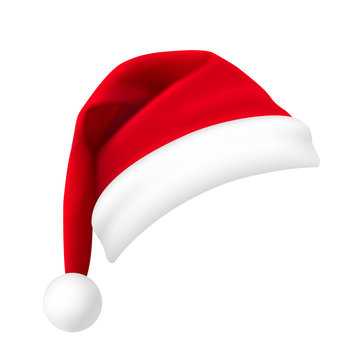 Santa Claus hat isolated on white background. New Year red hat realistic. - stock vector.
