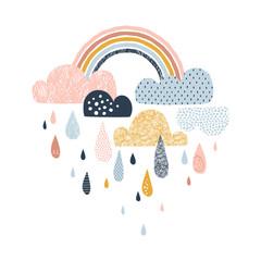 Vector sky illustration with clouds, rain drops and rainbows Cute doodle decorative scandinavian print for textile, fabric, apparel kid nursery design