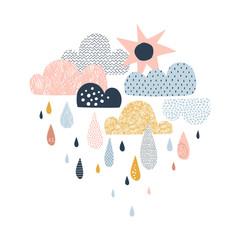 Vector sky illustration with clouds, rain drops and sun. Cute doodle decorative scandinavian print for textile, fabric, apparel kid nursery design