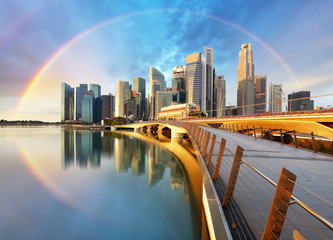 Singapore business district with rainbow - Marina bay