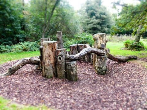 Tilt Shift Photo of Natural Play Area on Chorleywood Common in Hertfordshire, UK
