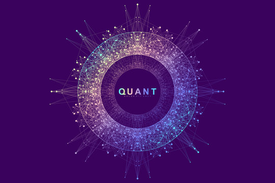 Circular quantum computer technology concept. Sphere explosion background. Deep learning artificial intelligence. Big data algorithms visualization. Waves flow. Quantum explosion, vector illustration